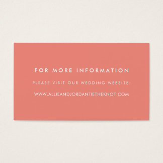 Modern Wedding Website Cards | Coral