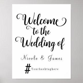 Modern Wedding Welcome Hashtag Wedding Sign Poster