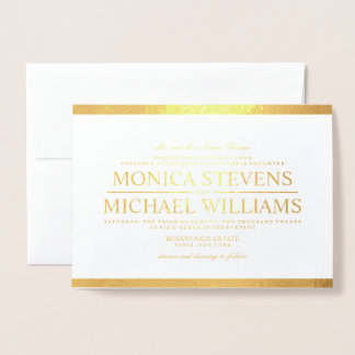 Modern Wedding White and REAL Gold Foil Invitation