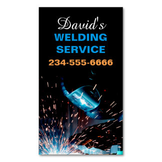 Modern Welding Service and Metal Fabrication Photo Magnetic Business Card