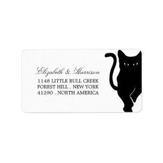 Modern Whimsical Black Cat Wedding Address Label