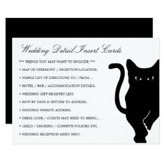 Modern Whimsical Black Cat Wedding Detail Insert 11 Cm X 16 Cm Invitation Card