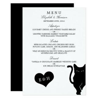 Modern Whimsical Black Cat Wedding Menu 11 Cm X 16 Cm Invitation Card