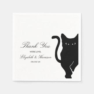 Modern Whimsical Black Cat Wedding Paper Napkins