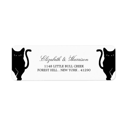 Modern Whimsical Black Cat Wedding Return Address Label