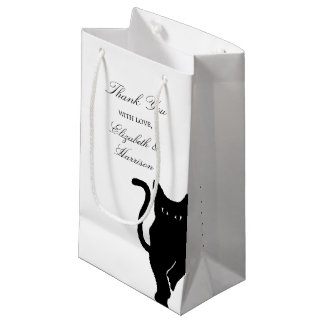 Modern Whimsical Black Cat Wedding Thank You Favor Small Gift Bag