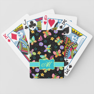 Modern Whimsy Butterflies on Black Monogram Poker Deck