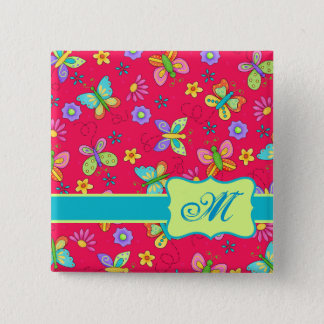 Modern Whimsy Butterflies on Red Monogram Personal 15 Cm Square Badge
