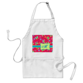Modern Whimsy Butterflies on Red Monogram Personal Adult Apron