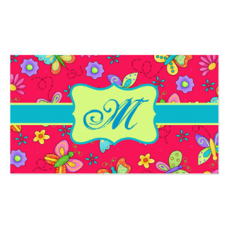 Modern Whimsy Butterflies on Red Monogram Personal Business Card Template