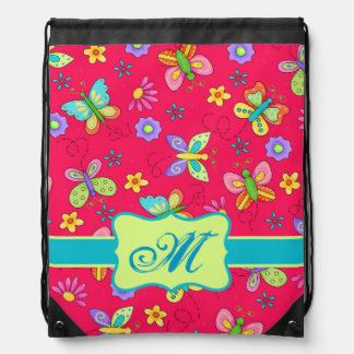 Modern Whimsy Butterflies on Red Monogram Personal Drawstring Bag