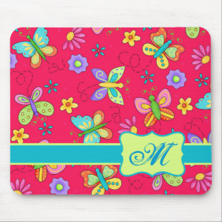 Modern Whimsy Butterflies on Red Monogram Personal Mousepads