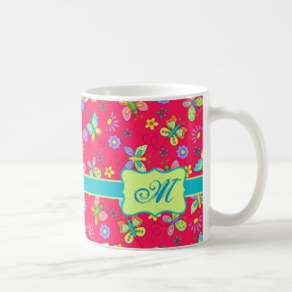Modern Whimsy Butterflies on Red Monogram Personal Coffee Mug