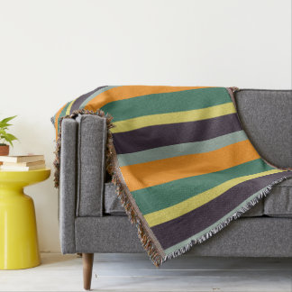 Modern Whimsy Palette Stripes Personalized Throw Blanket