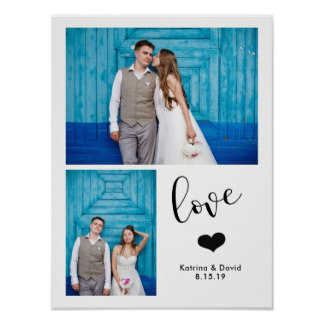 Modern Whimsy   Two Photo Wedding Poster