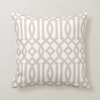 Modern White and Beige Imperial Trellis Cushion