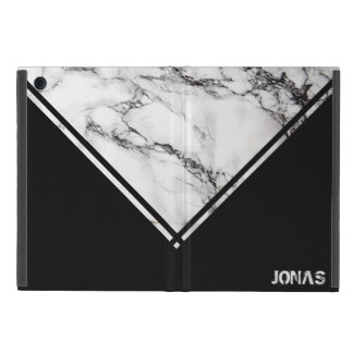 Modern White And Black Marble With Stripes iPad Mini Case