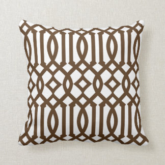 Modern White and Brown Imperial Trellis Cushion