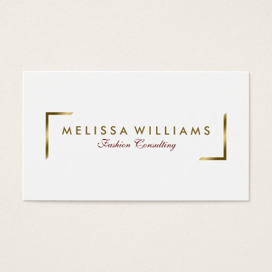 Modern White And Geometric Gold Accents Business Card