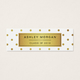 Modern White and Gold Glitter Graduation Name Card