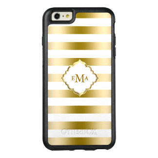 Modern White And Gold Stripes OtterBox iPhone 6/6s Plus Case