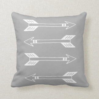 Modern White and Gray Arrow Throw Pillow
