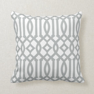 Modern White and Light Gray Imperial Trellis Cushion