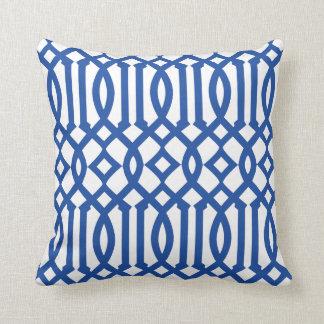 Modern White and Royal Blue Imperial Trellis Cushion