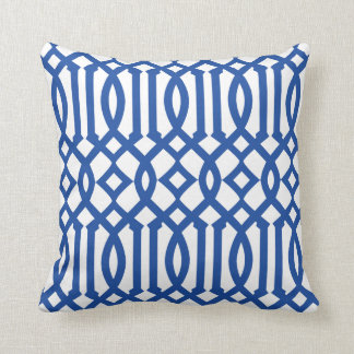 Modern White and Royal Blue Imperial Trellis Throw Pillow