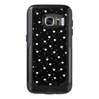 Modern White & Black Hearts Pattern OtterBox Samsung Galaxy S7 Case