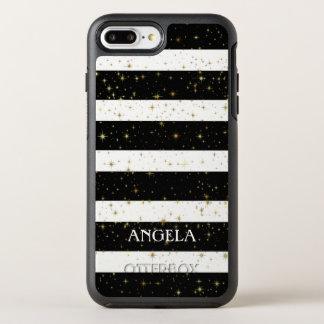 Modern White Black Stripes Gold Sparks OtterBox Symmetry iPhone 8 Plus/7 Plus Case