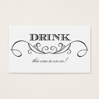 Modern White & Black Swirl Wedding Drink Ticket