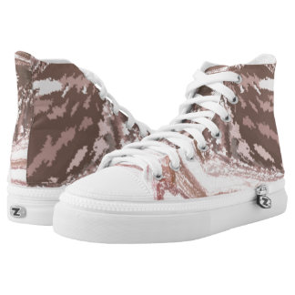 Modern_White_Brown High Tops Shors Printed Shoes