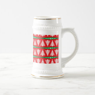 Modern White Christmas Trees Pattern On Red 18 Oz Beer Stein