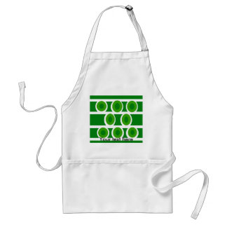 Modern white circles green background adult apron