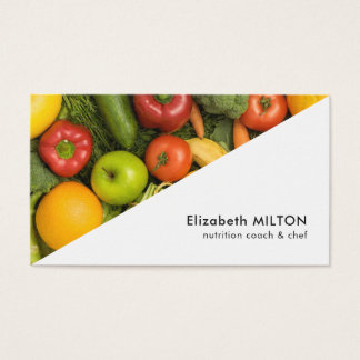 Modern White Colorful Vegetable Nutritionist Chef Business Card
