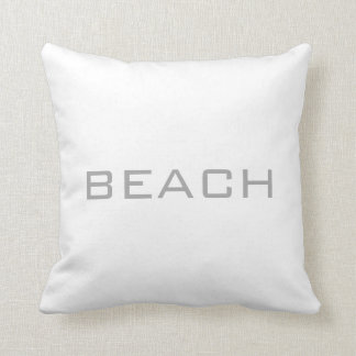 Modern white coloured Beach letters Throw Pillow