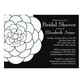 Modern White Dahlia Bloom Floral Bridal Shower Card