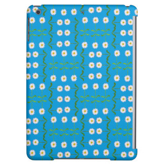 Modern White Daisy Pattern on Teal Background