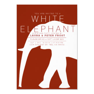 Modern White Elephant Holiday Party Invite