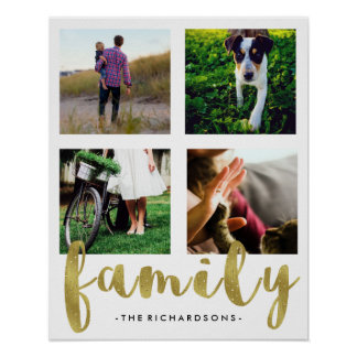 Modern White Family Photo Grid with Faux Gold Foil Poster