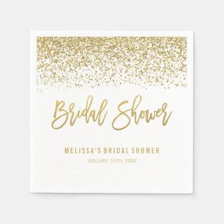 Modern White Faux Gold Glitter Bridal Shower Disposable Napkin