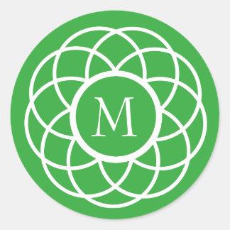 Modern White Flower on Bright Green Monogram Round Sticker