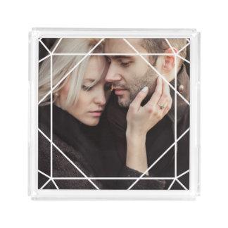 Modern White Geometric Overlay on your Photo Acrylic Tray