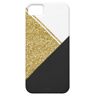 Modern White Gold Black triangle iPhone 5 Cases