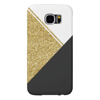 Modern White Gold Black triangle Samsung Galaxy S6 Cases