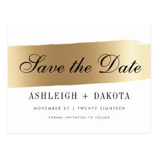 Modern White & Gold Brush Stroke Save The Date Postcard