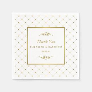 Modern White & Gold Foil Effect Wedding Disposable Serviette