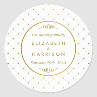 Modern White & Gold Foil Effect Wedding Thank You Classic Round Sticker
