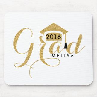 Modern White & Gold Glitter Grad 2016 Mouse Mat